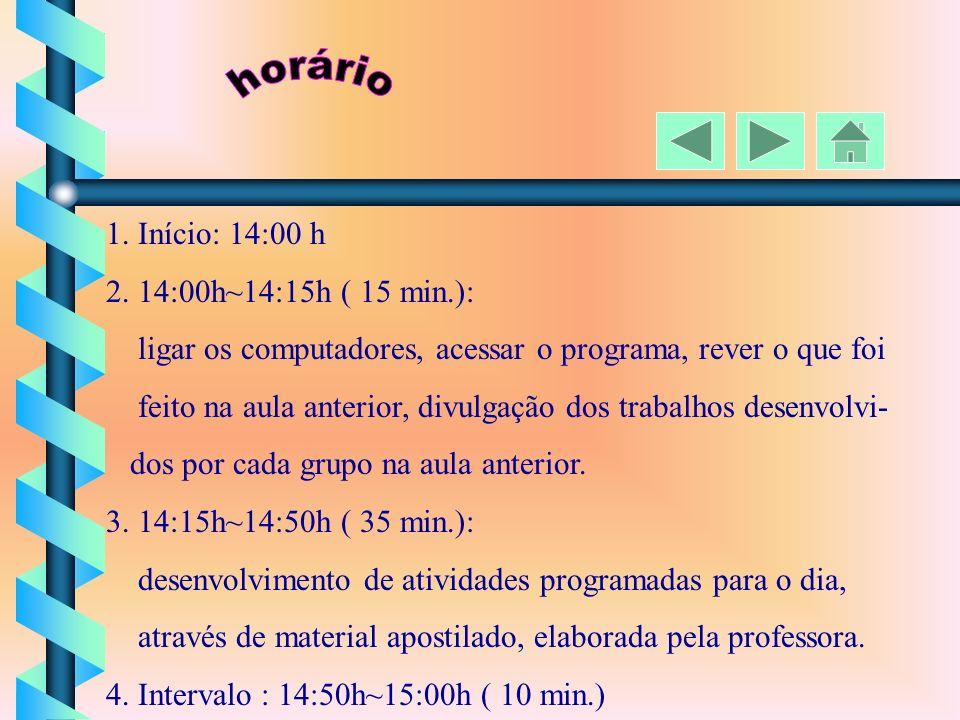 horário 1. Início: 14:00 h 2. 14:00h~14:15h ( 15 min.):