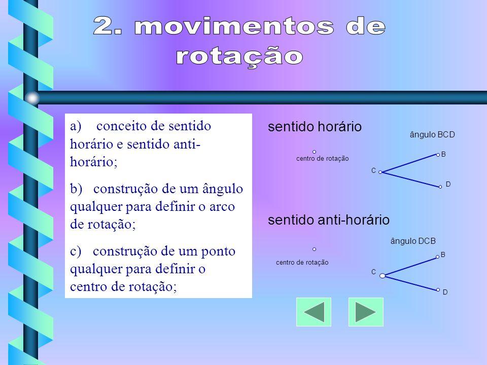 2. movimentos de rotação. a) conceito de sentido horário e sentido anti-horário;