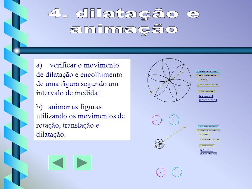 4. dilatação e animação. a) verificar o movimento de dilatação e encolhimento de uma figura segundo um intervalo de medida;