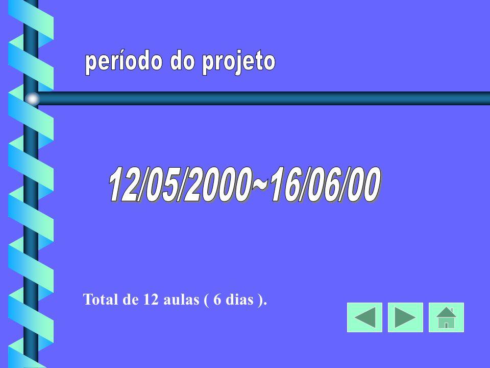 período do projeto 12/05/2000~16/06/00 Total de 12 aulas ( 6 dias ).
