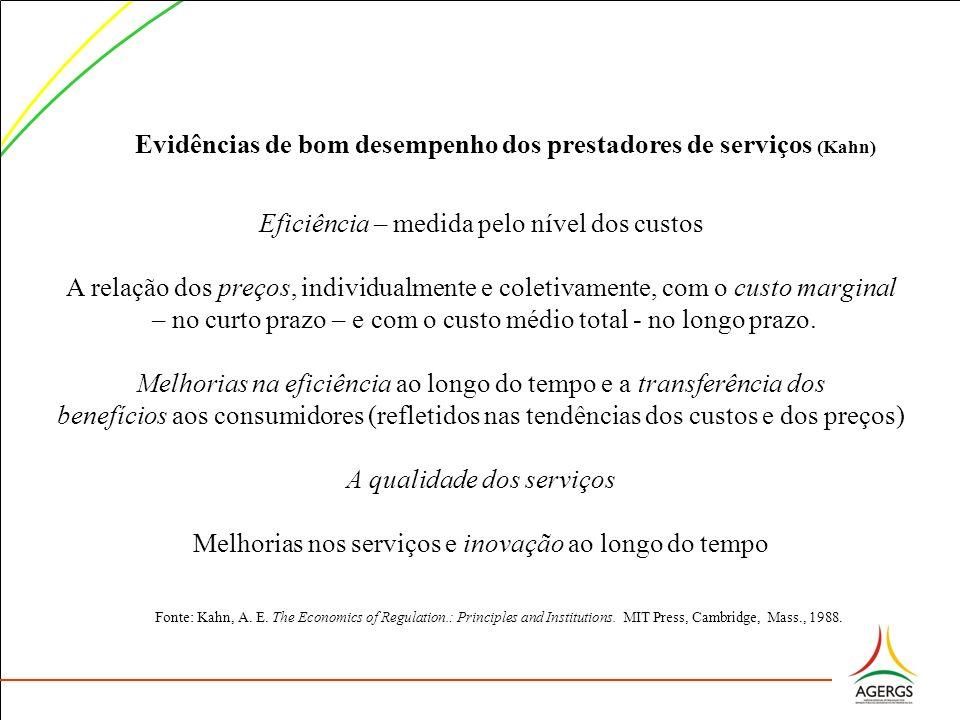 Evidências de bom desempenho dos prestadores de serviços (Kahn)
