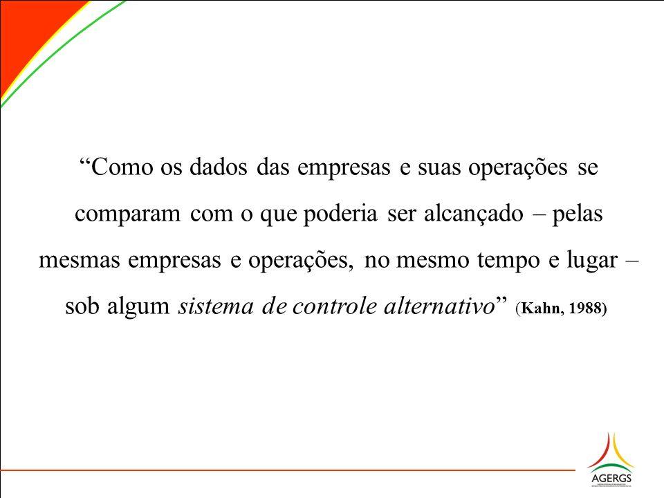 Como os dados das empresas e suas operações se comparam com o que poderia ser alcançado – pelas mesmas empresas e operações, no mesmo tempo e lugar – sob algum sistema de controle alternativo (Kahn, 1988), 1988)