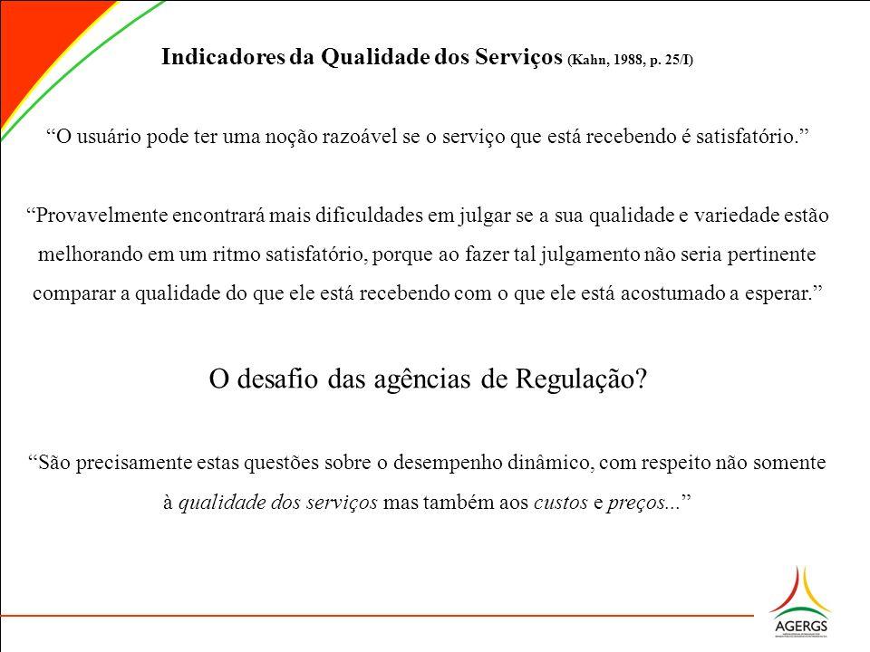 Indicadores da Qualidade dos Serviços (Kahn, 1988, p. 25/I)
