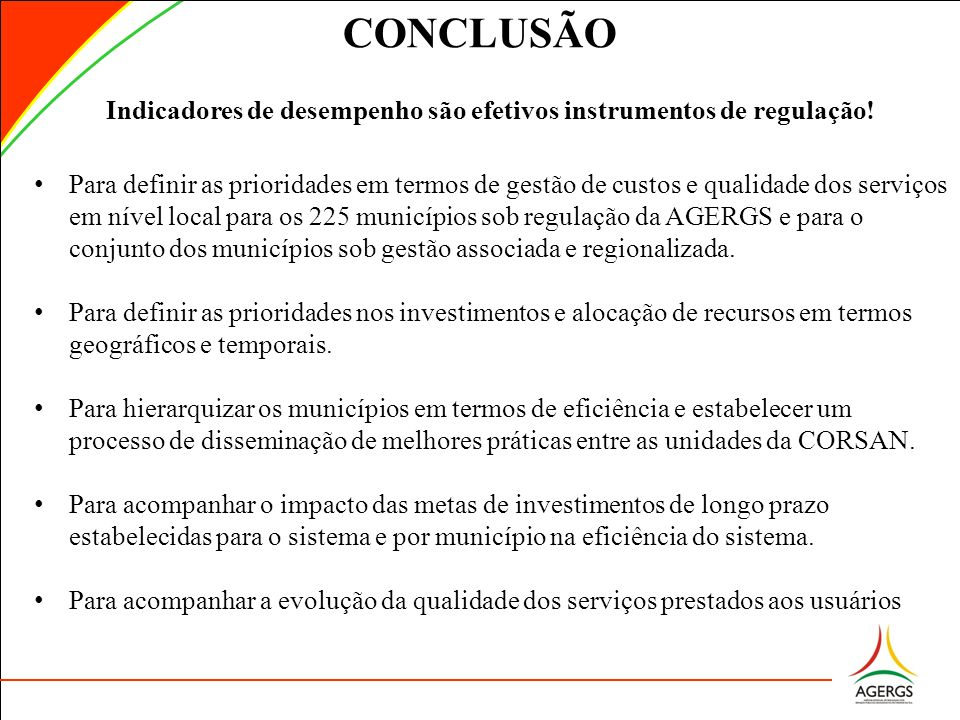 Indicadores de desempenho são efetivos instrumentos de regulação!