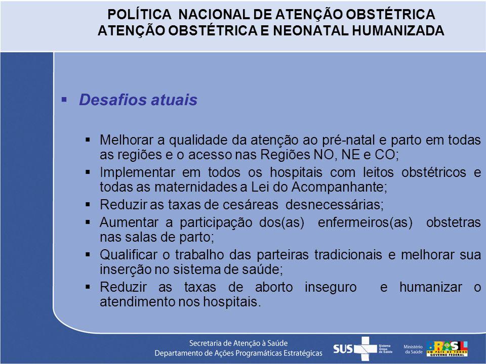 POLÍTICA NACIONAL DE ATENÇÃO OBSTÉTRICA ATENÇÃO OBSTÉTRICA E NEONATAL HUMANIZADA