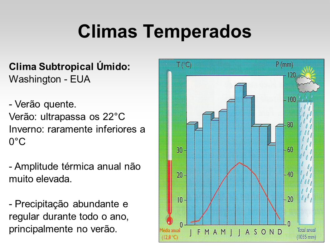 Climas Temperados Clima Subtropical Úmido: Washington - EUA