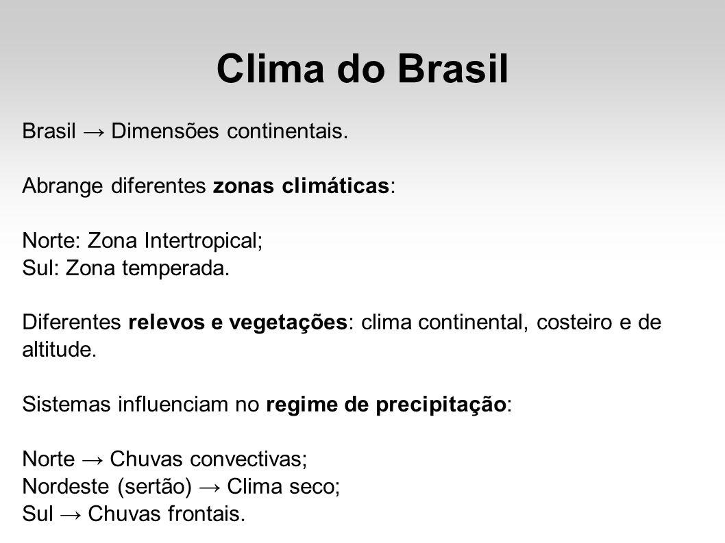 Clima do Brasil Brasil → Dimensões continentais.