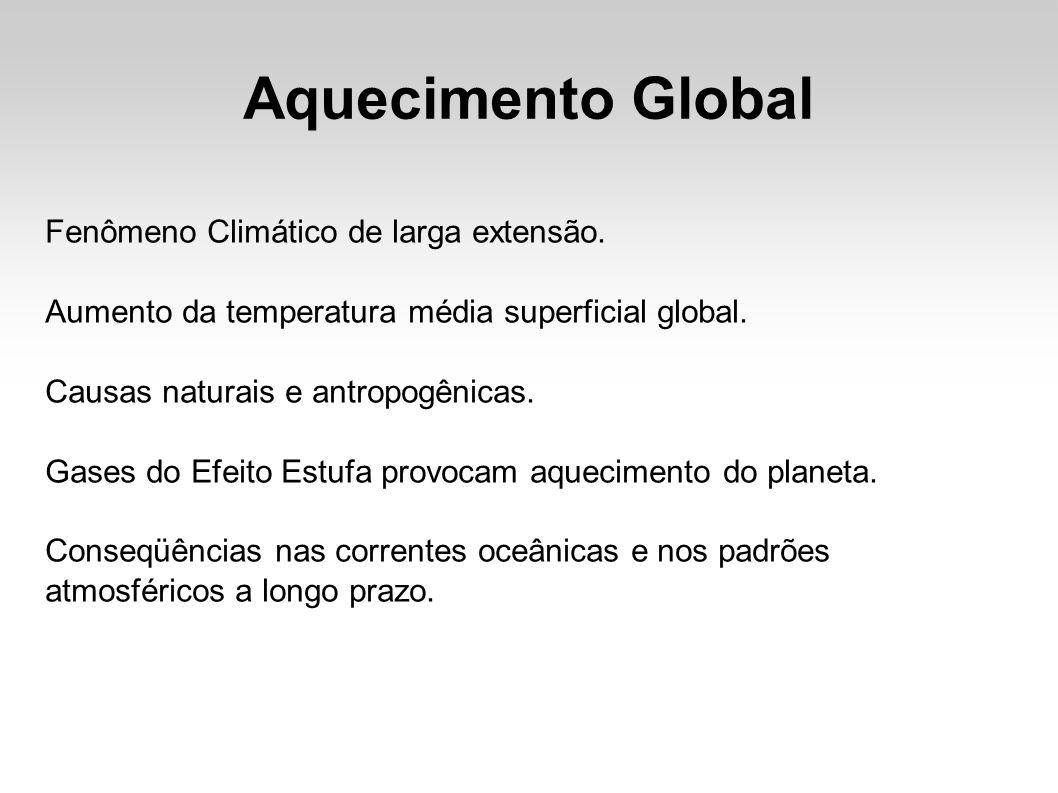 Aquecimento Global Fenômeno Climático de larga extensão.