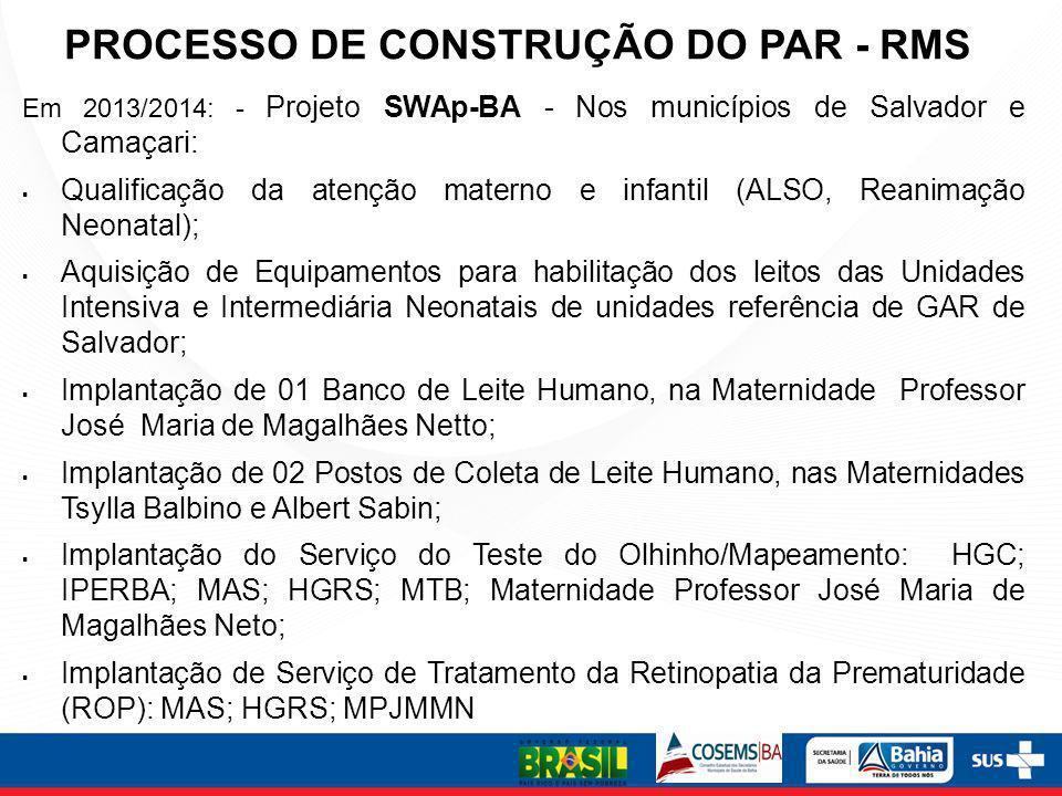 PROCESSO DE CONSTRUÇÃO DO PAR - RMS