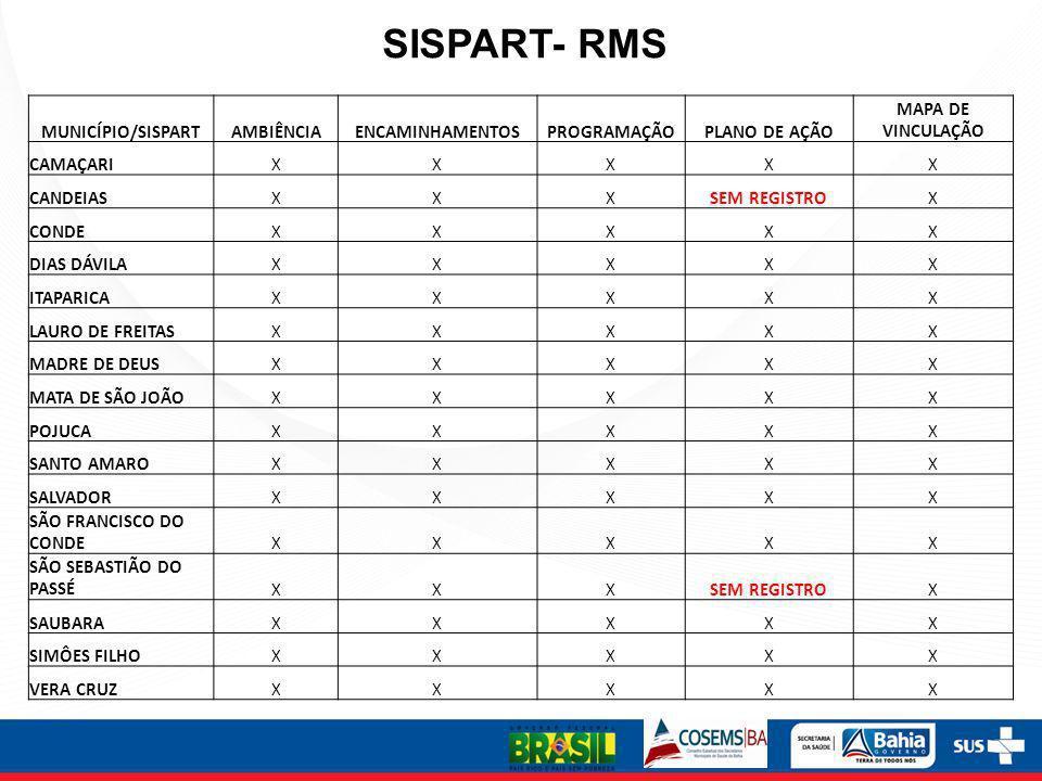 SISPART- RMS MUNICÍPIO/SISPART AMBIÊNCIA ENCAMINHAMENTOS PROGRAMAÇÃO