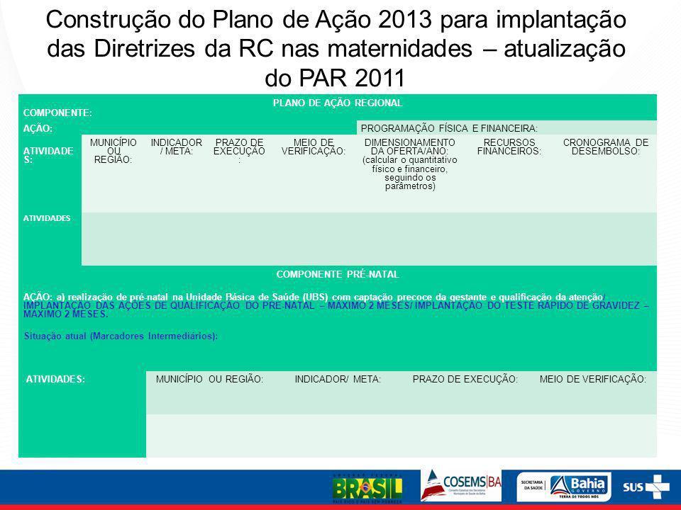 Construção do Plano de Ação 2013 para implantação das Diretrizes da RC nas maternidades – atualização do PAR 2011
