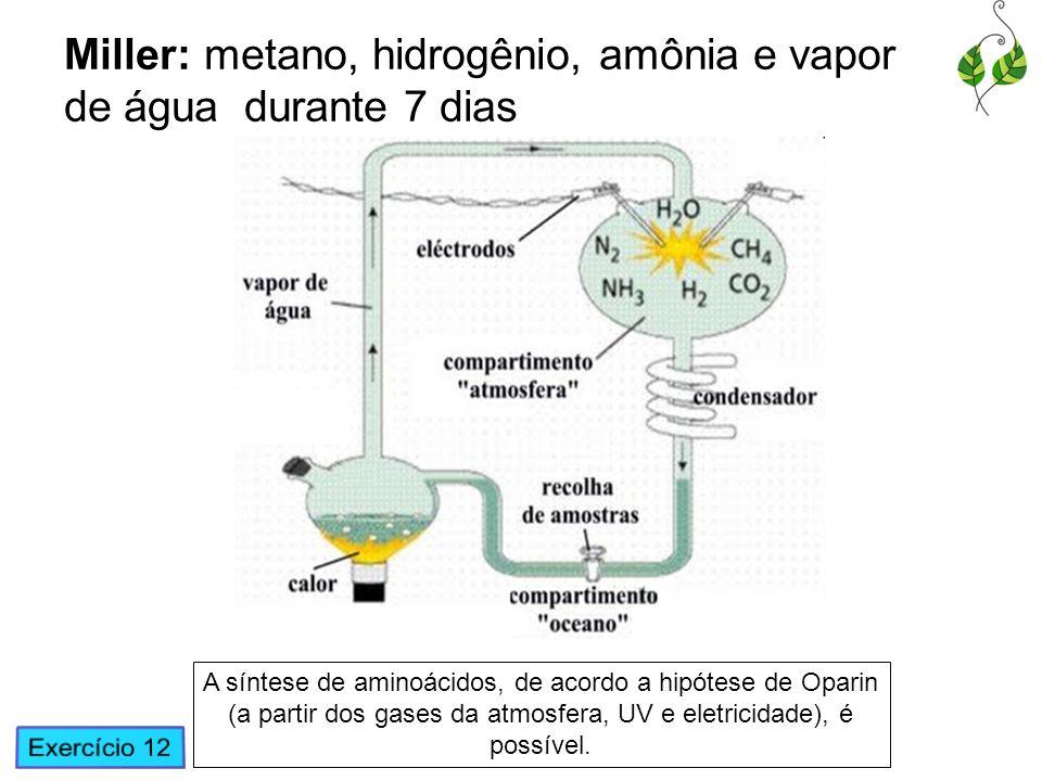 Miller: metano, hidrogênio, amônia e vapor de água durante 7 dias