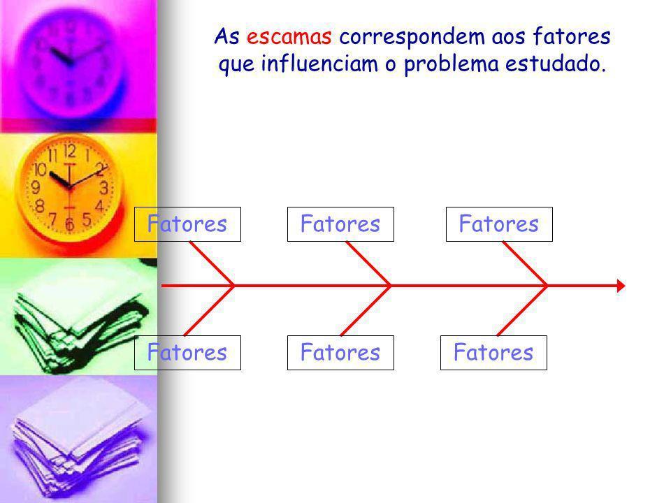 As escamas correspondem aos fatores que influenciam o problema estudado.