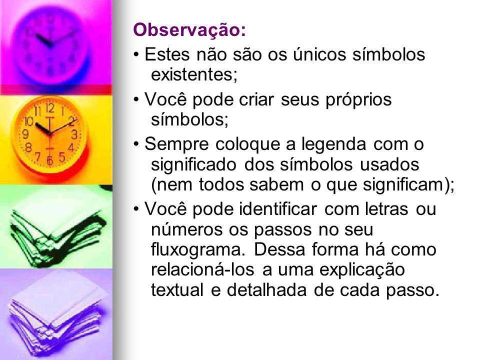 Observação: • Estes não são os únicos símbolos existentes; • Você pode criar seus próprios símbolos;