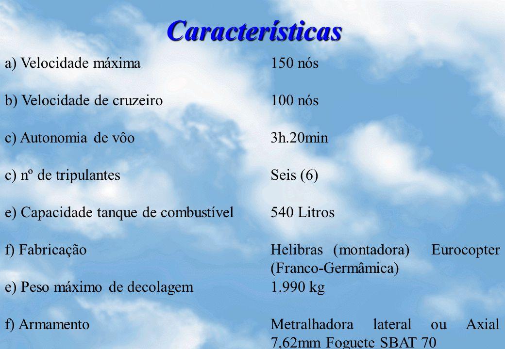 Características a) Velocidade máxima 150 nós b) Velocidade de cruzeiro