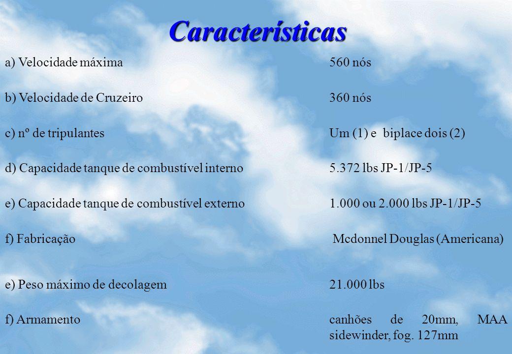 Características a) Velocidade máxima 560 nós b) Velocidade de Cruzeiro