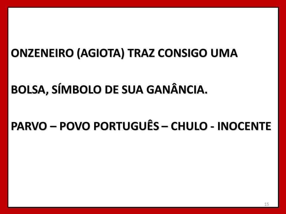 ONZENEIRO (AGIOTA) TRAZ CONSIGO UMA BOLSA, SÍMBOLO DE SUA GANÂNCIA