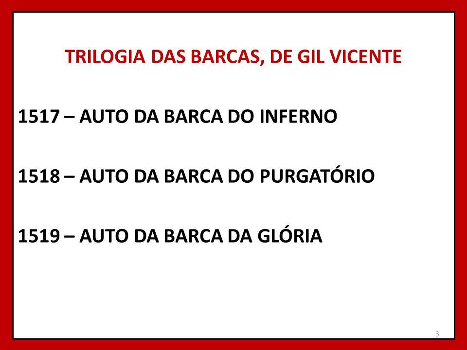 TRILOGIA DAS BARCAS, DE GIL VICENTE 1517 – AUTO DA BARCA DO INFERNO 1518 – AUTO DA BARCA DO PURGATÓRIO 1519 – AUTO DA BARCA DA GLÓRIA