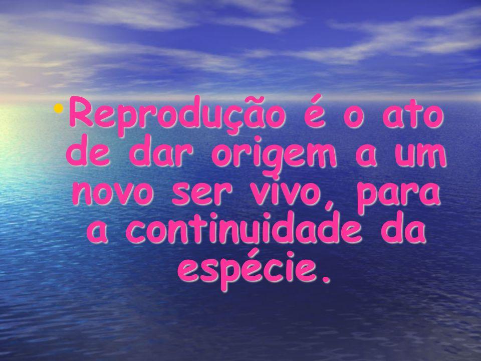Reprodução é o ato de dar origem a um novo ser vivo, para a continuidade da espécie.