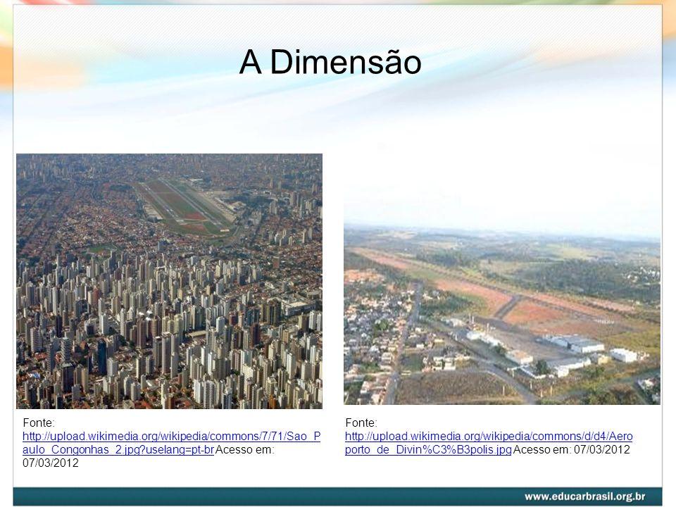 A Dimensão Fonte: http://upload.wikimedia.org/wikipedia/commons/7/71/Sao_Paulo_Congonhas_2.jpg?uselang=pt-br Acesso em: 07/03/2012.