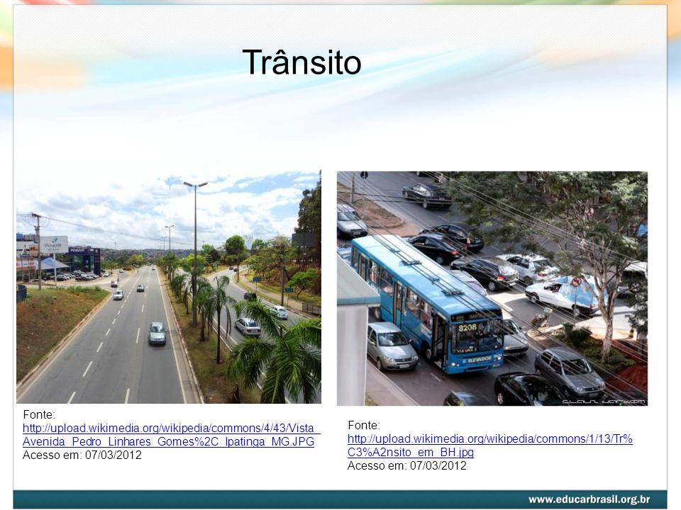 Trânsito Fonte: http://upload.wikimedia.org/wikipedia/commons/4/43/Vista_Avenida_Pedro_Linhares_Gomes%2C_Ipatinga_MG.JPG.