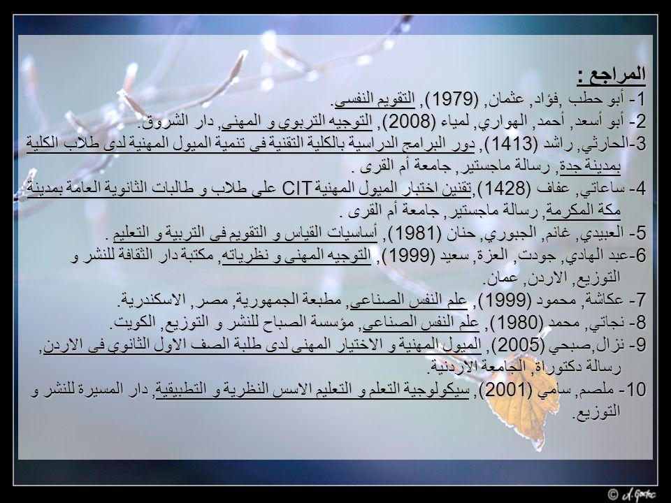 المراجع : 1- أبو حطب ,فؤاد, عثمان, (1979), التقويم النفسي.