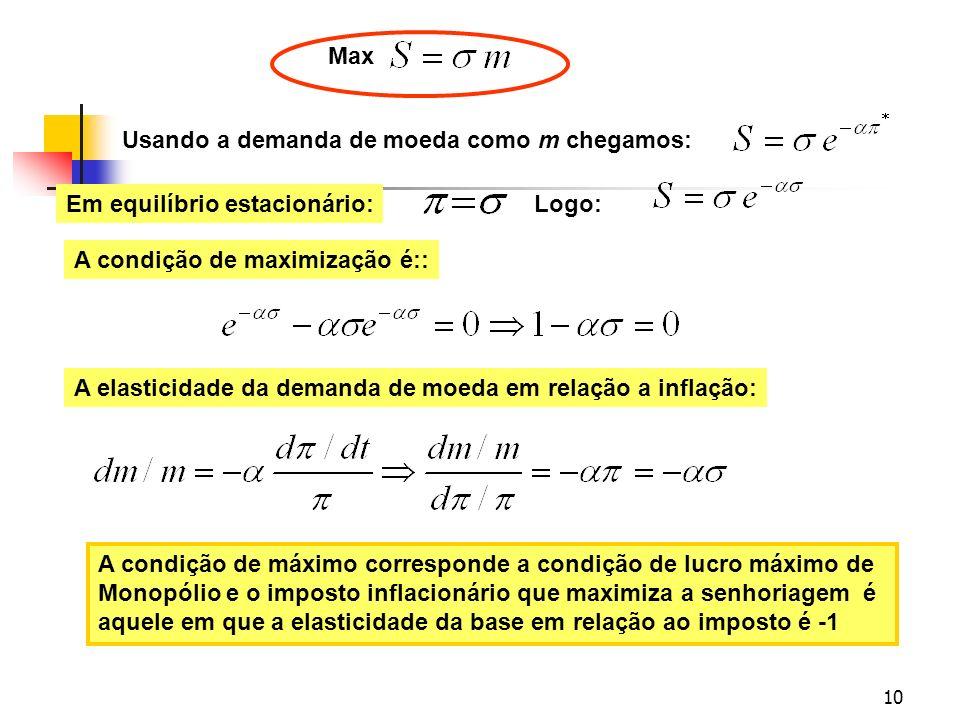 MaxUsando a demanda de moeda como m chegamos: Em equilíbrio estacionário: Logo: A condição de maximização é::