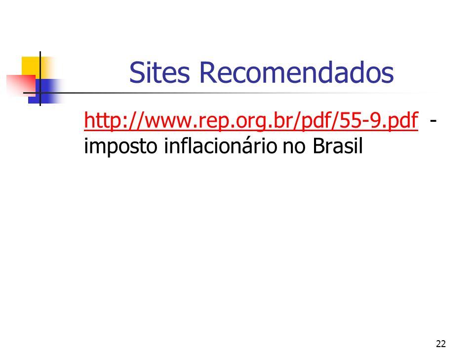Sites Recomendados http://www.rep.org.br/pdf/55-9.pdf - imposto inflacionário no Brasil
