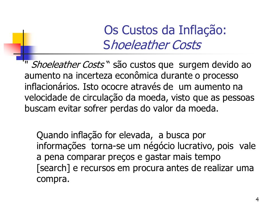Os Custos da Inflação: Shoeleather Costs