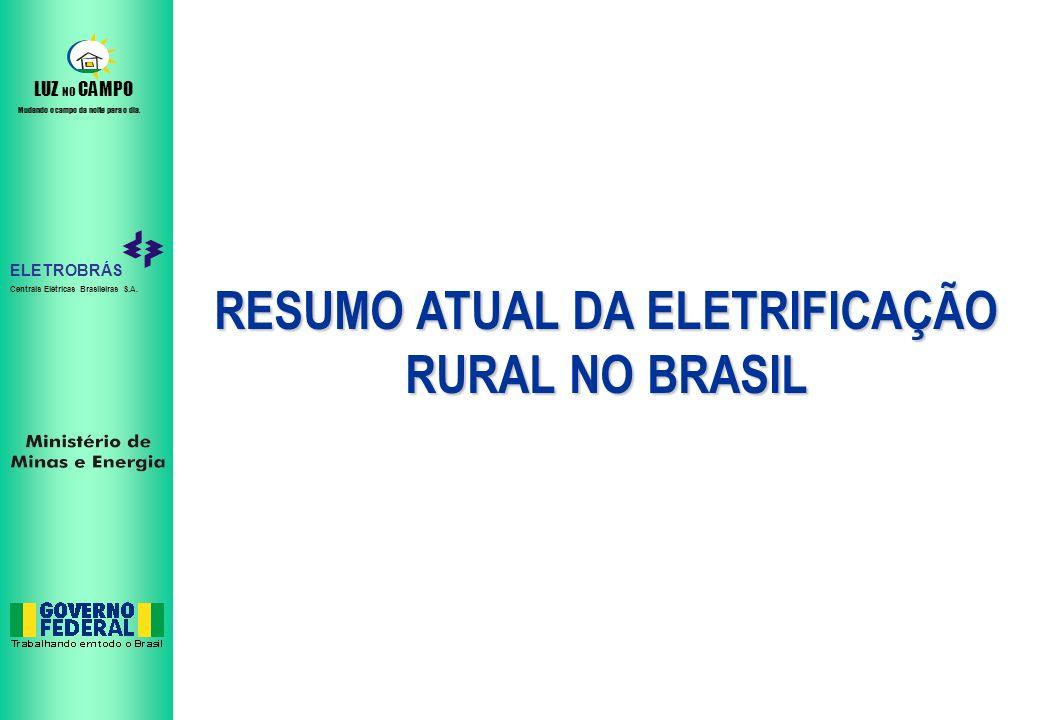 RESUMO ATUAL DA ELETRIFICAÇÃO RURAL NO BRASIL