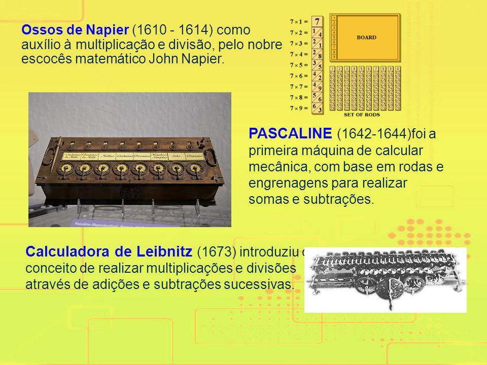 Ossos de Napier (1610 - 1614) como auxílio à multiplicação e divisão, pelo nobre escocês matemático John Napier.
