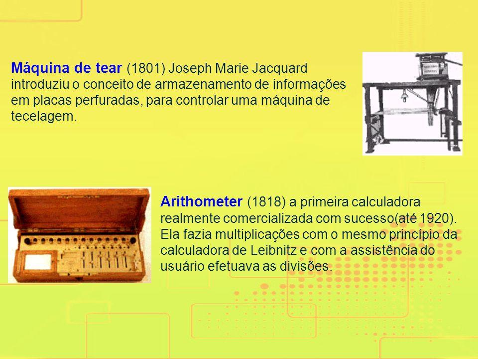 Máquina de tear (1801) Joseph Marie Jacquard introduziu o conceito de armazenamento de informações em placas perfuradas, para controlar uma máquina de tecelagem.