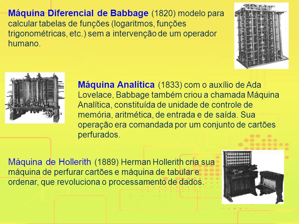 Máquina Diferencial de Babbage (1820) modelo para calcular tabelas de funções (logaritmos, funções trigonométricas, etc.) sem a intervenção de um operador humano.