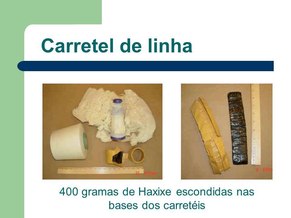 400 gramas de Haxixe escondidas nas bases dos carretéis