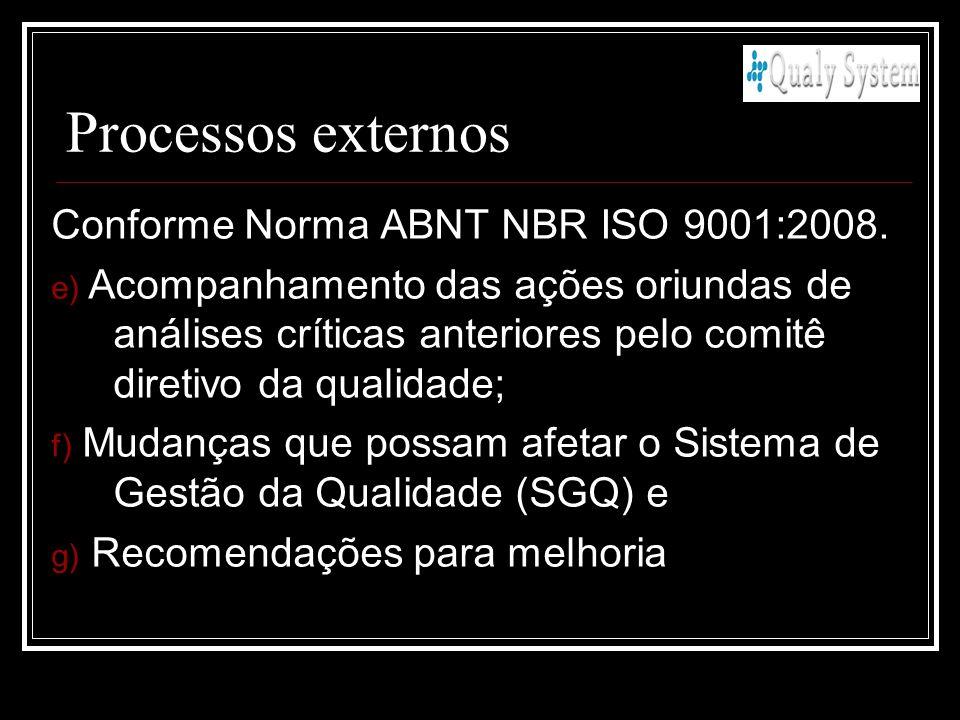 Processos externos Conforme Norma ABNT NBR ISO 9001:2008.