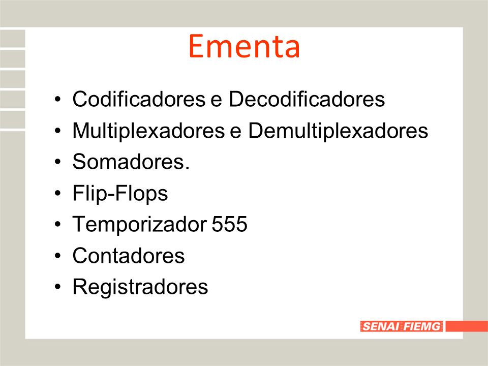 Ementa Codificadores e Decodificadores