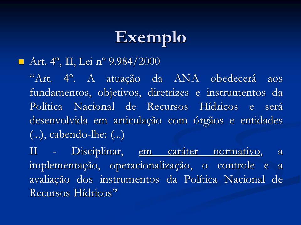 Exemplo Art. 4º, II, Lei nº 9.984/2000.