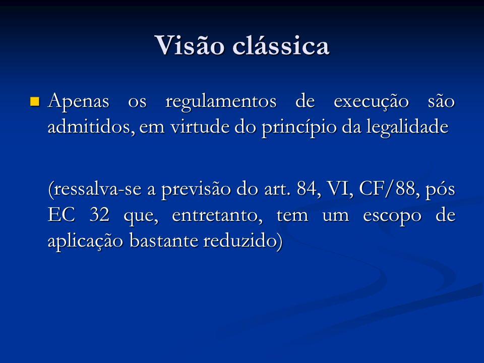 Visão clássica Apenas os regulamentos de execução são admitidos, em virtude do princípio da legalidade.