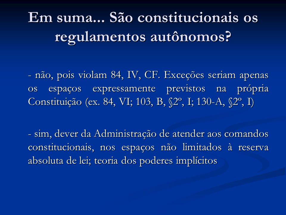Em suma... São constitucionais os regulamentos autônomos