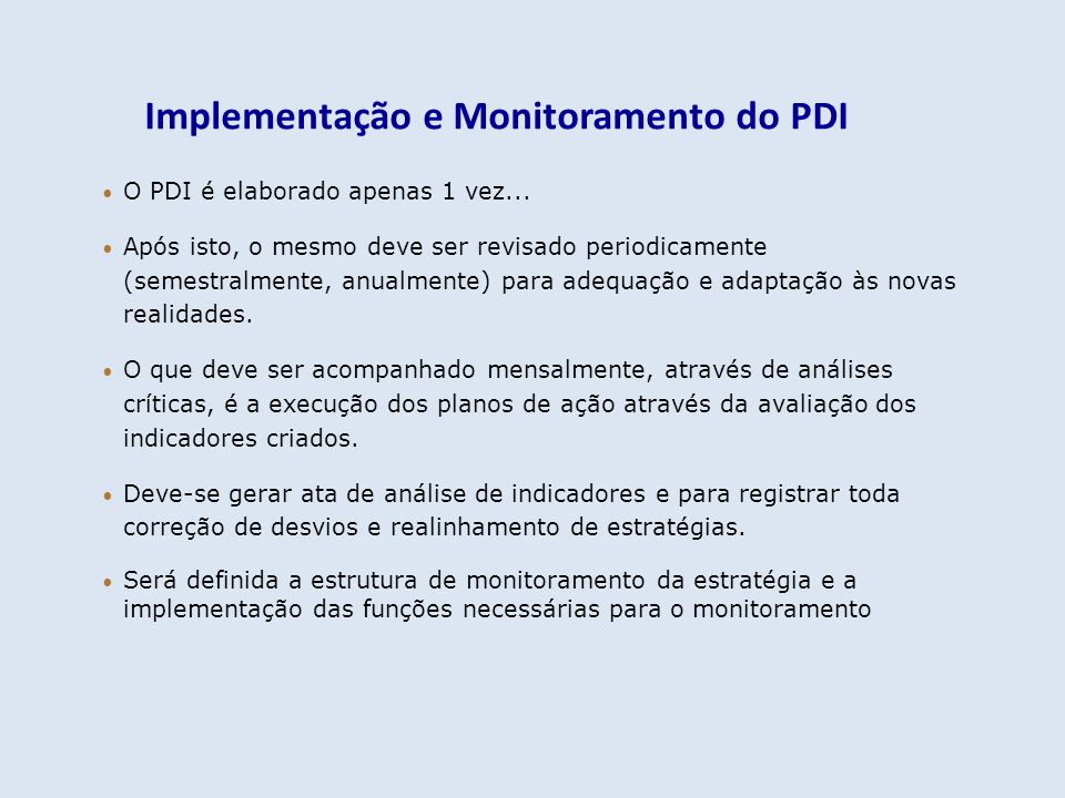 Implementação e Monitoramento do PDI