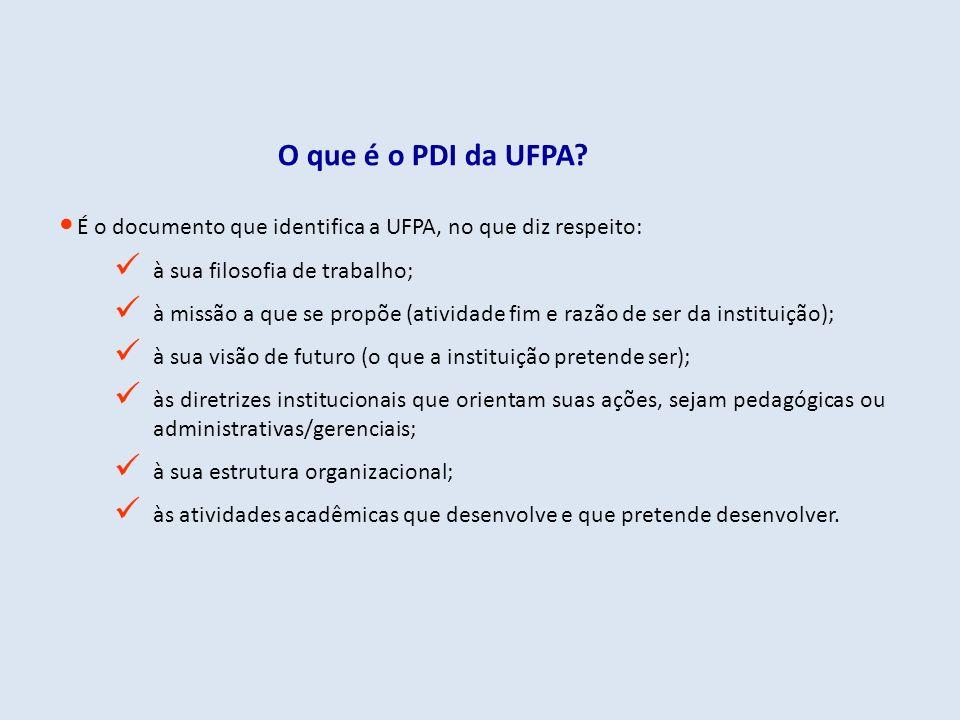 O que é o PDI da UFPA É o documento que identifica a UFPA, no que diz respeito: à sua filosofia de trabalho;