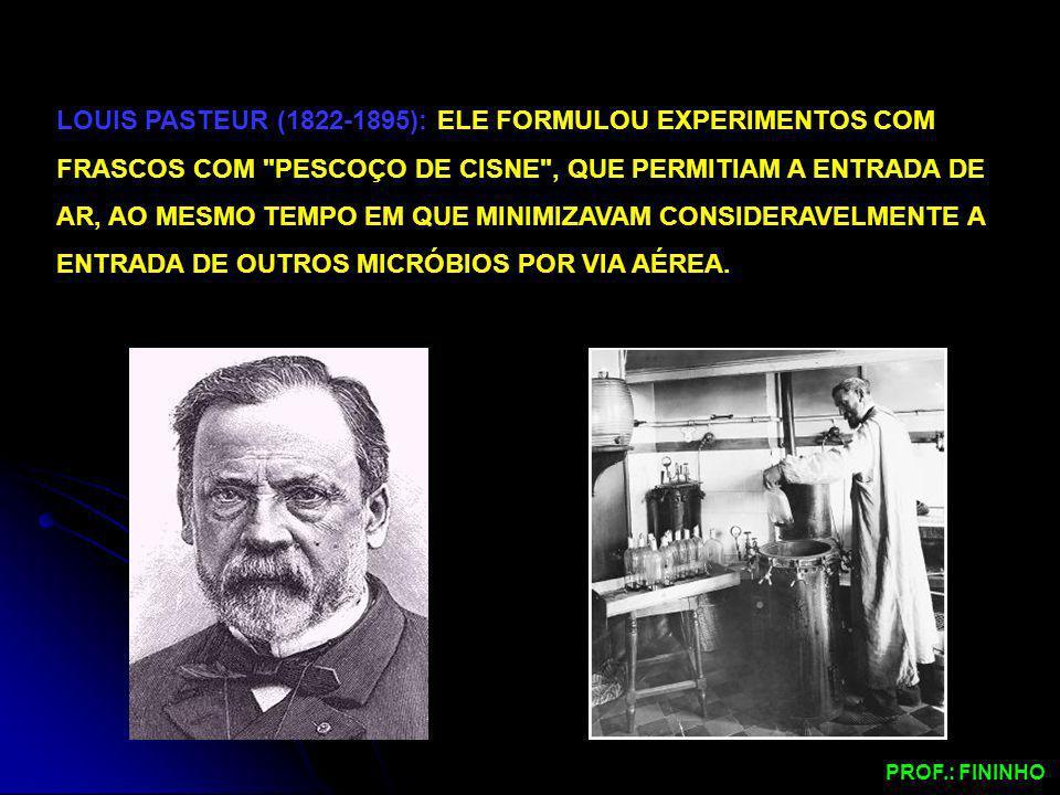 LOUIS PASTEUR (1822-1895): ELE FORMULOU EXPERIMENTOS COM FRASCOS COM PESCOÇO DE CISNE , QUE PERMITIAM A ENTRADA DE AR, AO MESMO TEMPO EM QUE MINIMIZAVAM CONSIDERAVELMENTE A ENTRADA DE OUTROS MICRÓBIOS POR VIA AÉREA.