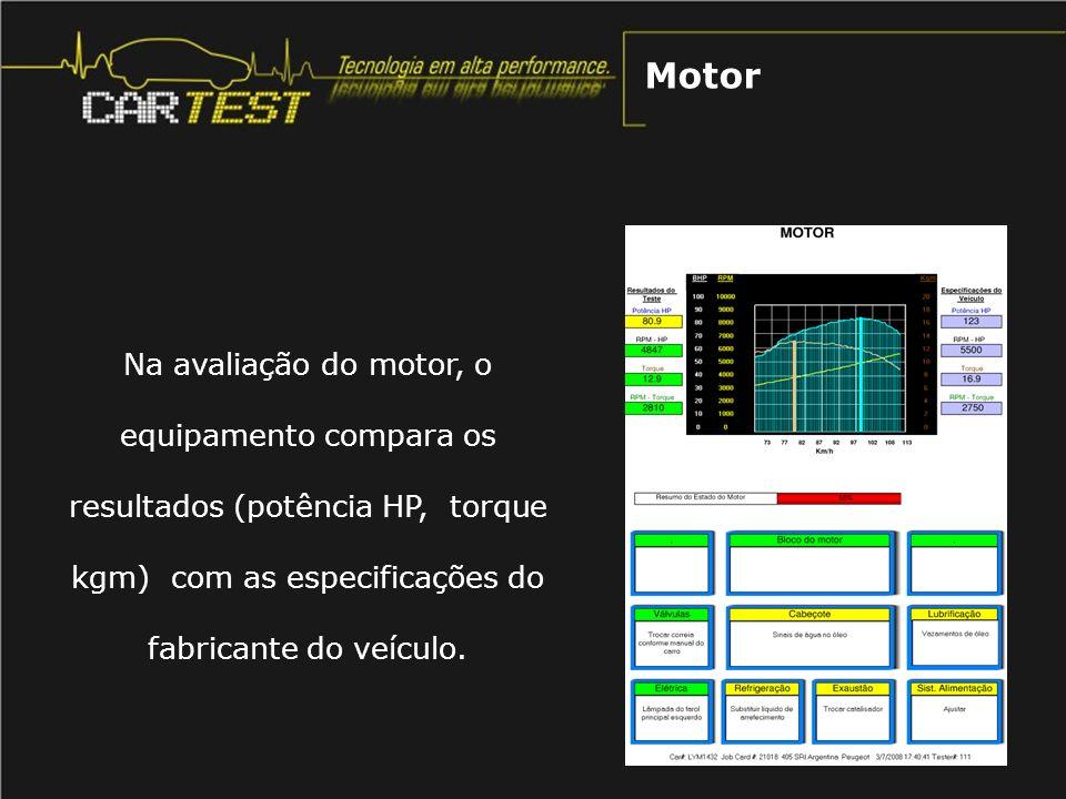 Motor Na avaliação do motor, o equipamento compara os resultados (potência HP, torque kgm) com as especificações do fabricante do veículo.
