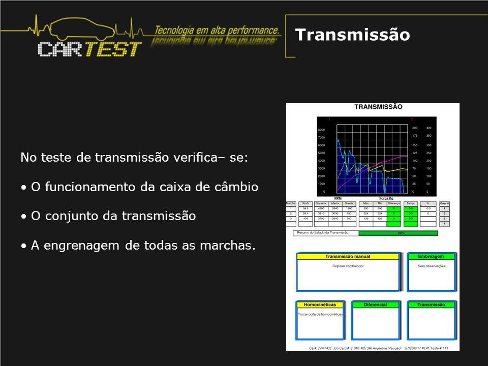 Transmissão No teste de transmissão verifica– se: