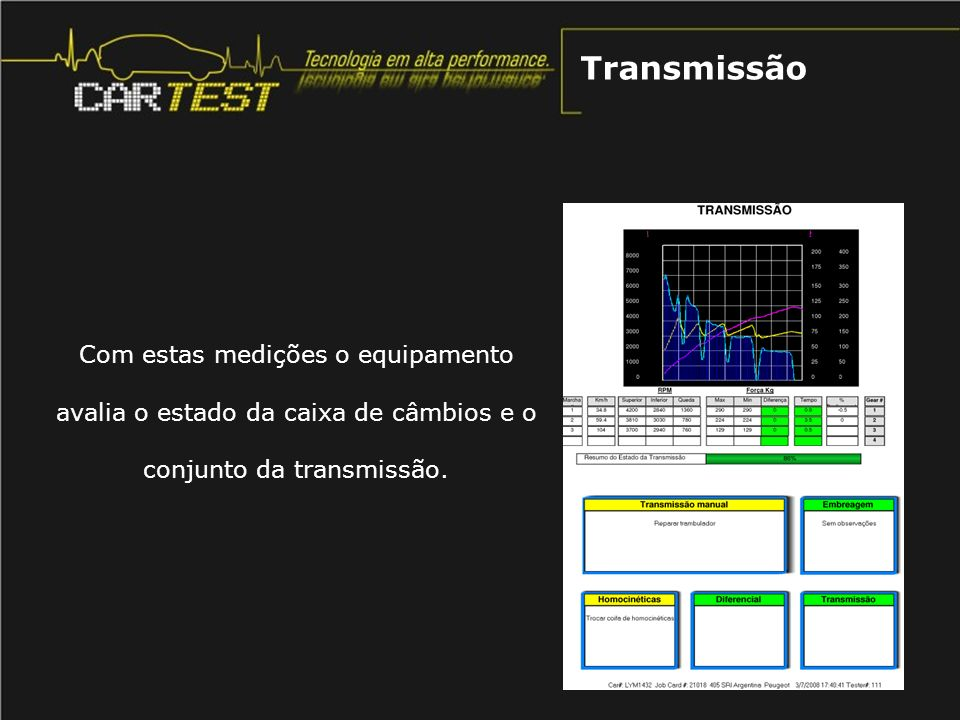 Transmissão Com estas medições o equipamento avalia o estado da caixa de câmbios e o conjunto da transmissão.