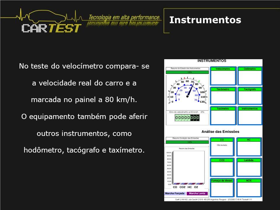 Instrumentos No teste do velocímetro compara- se a velocidade real do carro e a marcada no painel a 80 km/h.