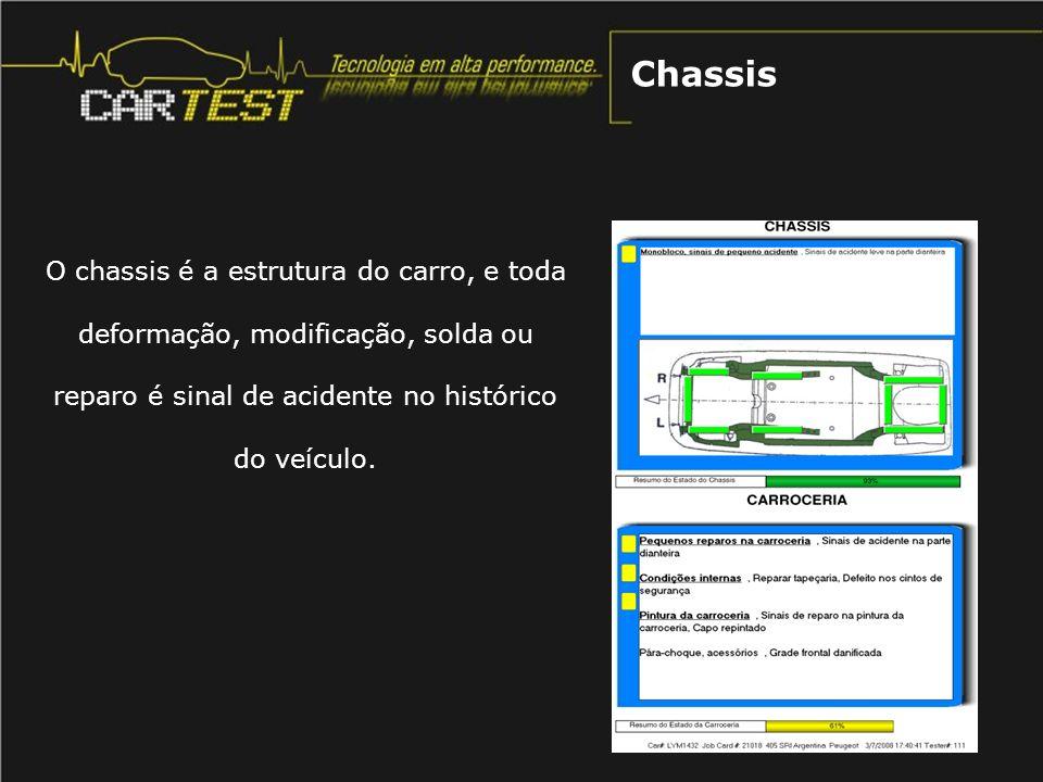 Chassis O chassis é a estrutura do carro, e toda deformação, modificação, solda ou reparo é sinal de acidente no histórico do veículo.