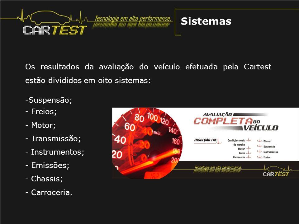 Sistemas Os resultados da avaliação do veículo efetuada pela Cartest estão divididos em oito sistemas: