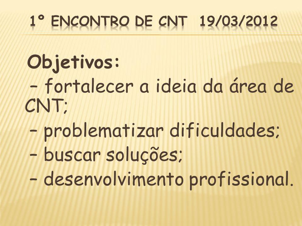 – fortalecer a ideia da área de CNT; – problematizar dificuldades;