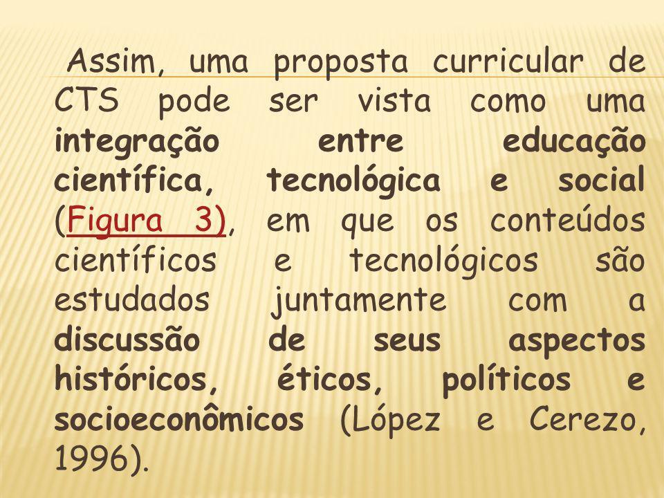 Assim, uma proposta curricular de CTS pode ser vista como uma integração entre educação científica, tecnológica e social (Figura 3), em que os conteúdos científicos e tecnológicos são estudados juntamente com a discussão de seus aspectos históricos, éticos, políticos e socioeconômicos (López e Cerezo, 1996).